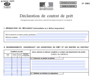Déclaration de contrat de prêt n° 2062 : rédaction et  modalités